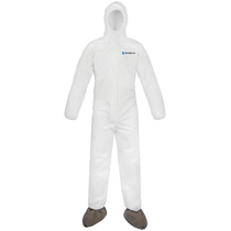 SHIELDTECH MICROPOROUS COVERALL W/HOOD & BOOTS WHITE MD