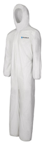 SHIELDTECH MICROPOROUS COVERALL W/HOOD & ELASTIC WRIST/ANKLE WHITE LG