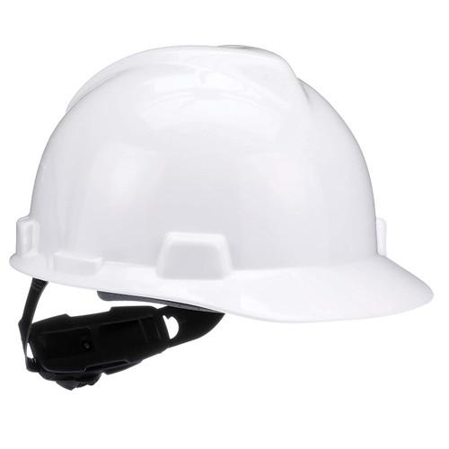 MSA V-GARD HARD HAT WHITE TYPE 1 W/FAS-TRAC RATCHET SUSPENSION