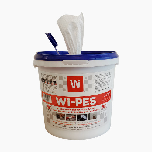 WIPES IN A BUCKET FOR USE WITH DISINFECTANT, CLEANER OR SANITIZER 300 WIPES/PAIL
