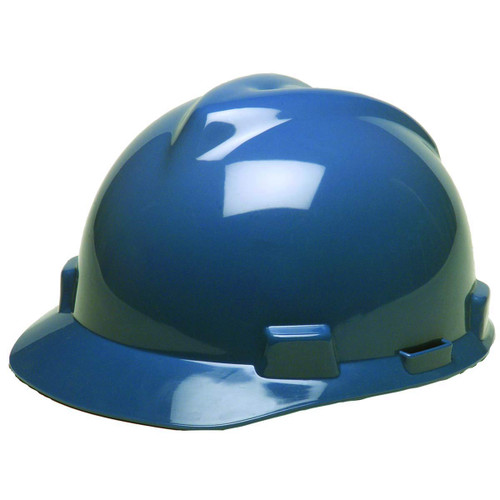 MSA V-GARD HARD HAT BLUE TYPE 1 FAS-TRAC RATCHET SUSPENSION