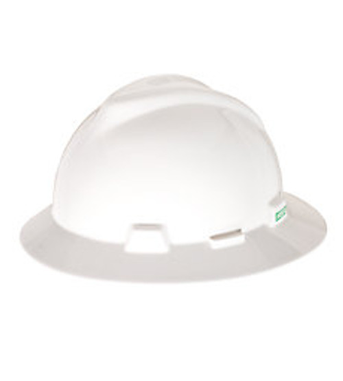 MSA V-GARD FULL BRIM HARD HAT WHITE TYPE 1 FAS-TRAC SUSPENSION