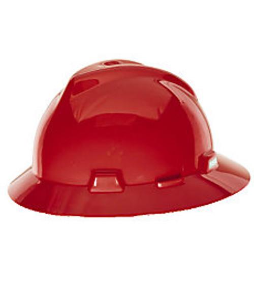 MSA V-GARD FULL BRIM HARD HAT RED TYPE 1 FAS-TRAC SUSPENSION