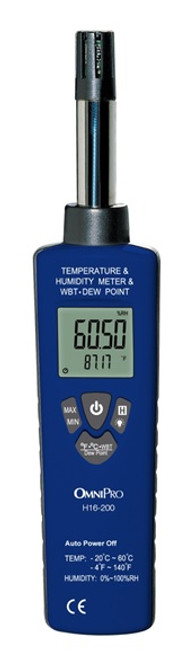 OMNIPRO MODEL H16-200  HYGROMETER WITH TEMPERATURE RH%  AND DEWPOINT