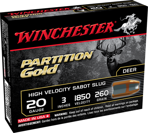 """Winchester Partition Gold 20ga 3"""" 260gr, 5/bx"""