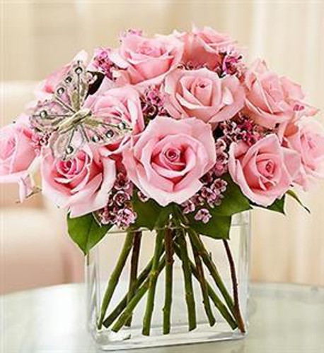 Modern Pink Roses - One Dozen Red