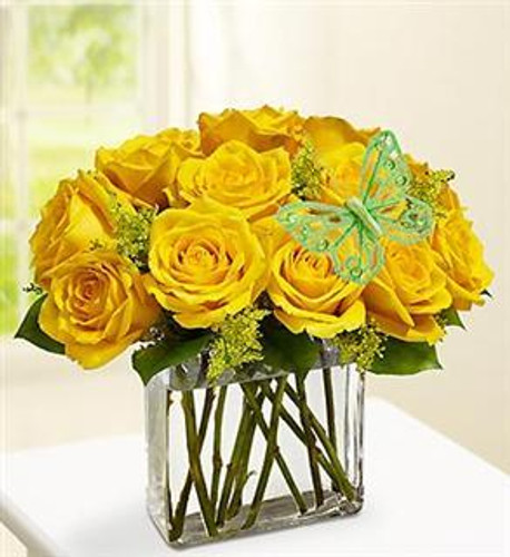 Modern Yellow Roses - One Dozen Yellow