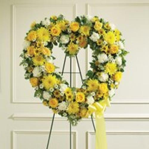 Yellow & White Standing Open Heart
