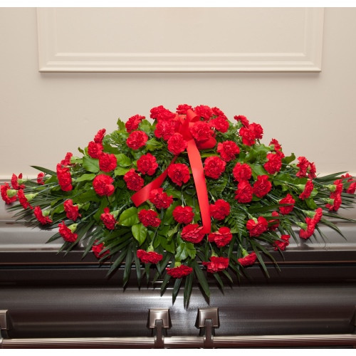 Dearly Departed Casket Spray - Red Carnations