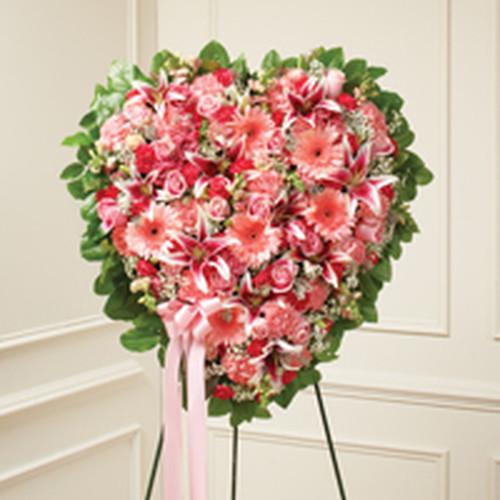 Pink Mixed Flower Standing Heart .