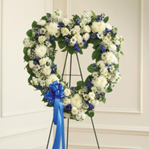 Blue & White Standing Open Heart .
