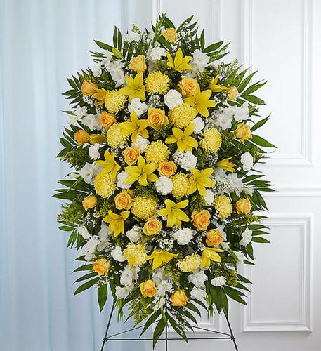 Yellow & White Sympathy Standing Spray.