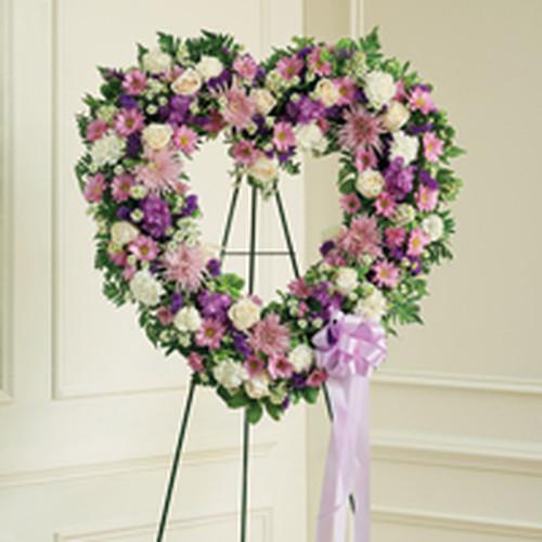Lavender & White Standing Open Heart.