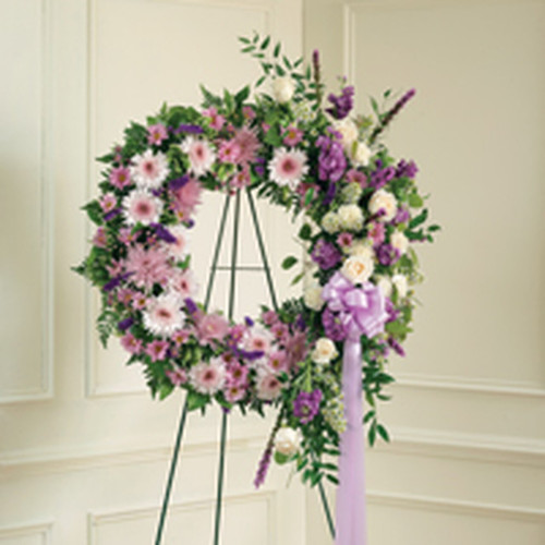Lavender & White Standing Wreath.