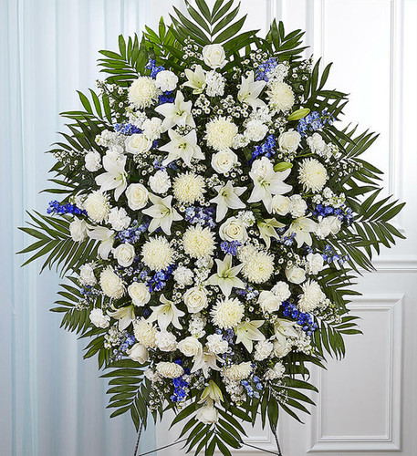 Blue & White Sympathy Standing Spray.