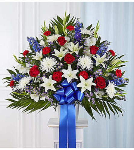 Chicago Heartfelt Sympathies™ Red, White, & Blue Standing Basket