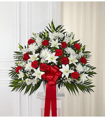 Chicago Heartfelt Sympathies™ Red & White Standing Basket