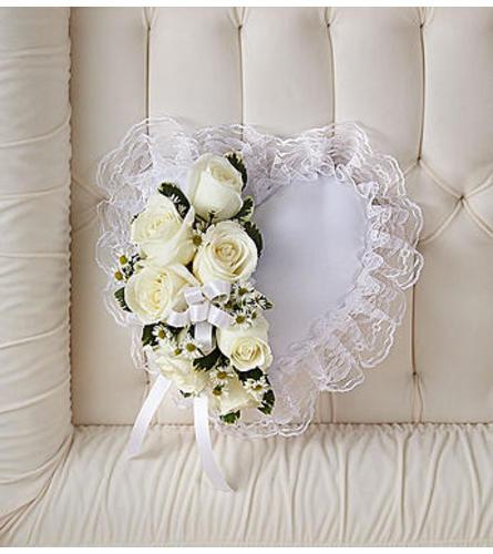 White Satin Heart Casket Pillow