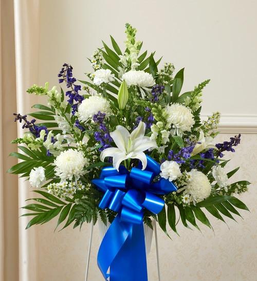 Heartfelt Sympathies™ Standing Basket- Blue & White