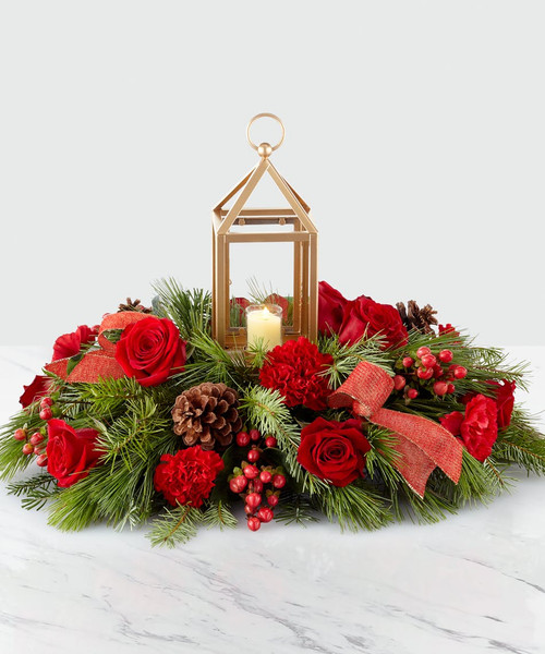Chicago I'LL BE HOME FOR CHRISTMAS LANTERN CENTERPIECE for Local Chicago Delivery