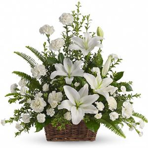 Peaceful White Lilies Basket for Chicago Delivery