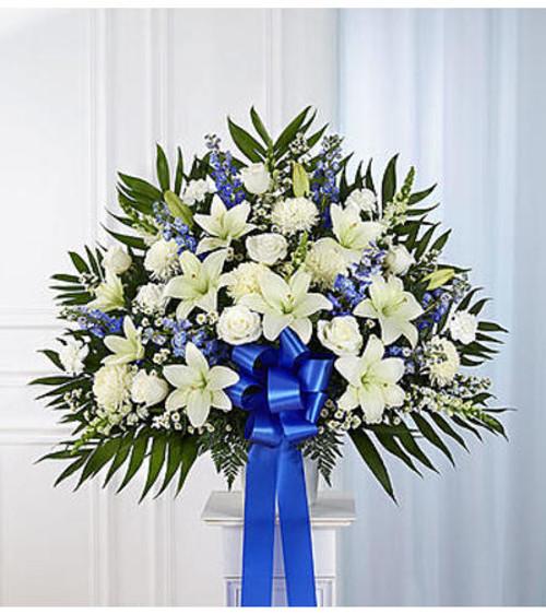 Chicago Heartfelt Sympathies™ Blue & White Standing Basket