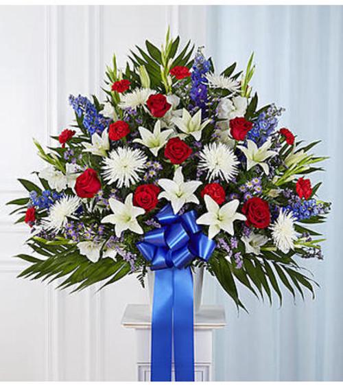 Chicago Heartfelt Sympathies™ Red, White, & Blue Standing Basket