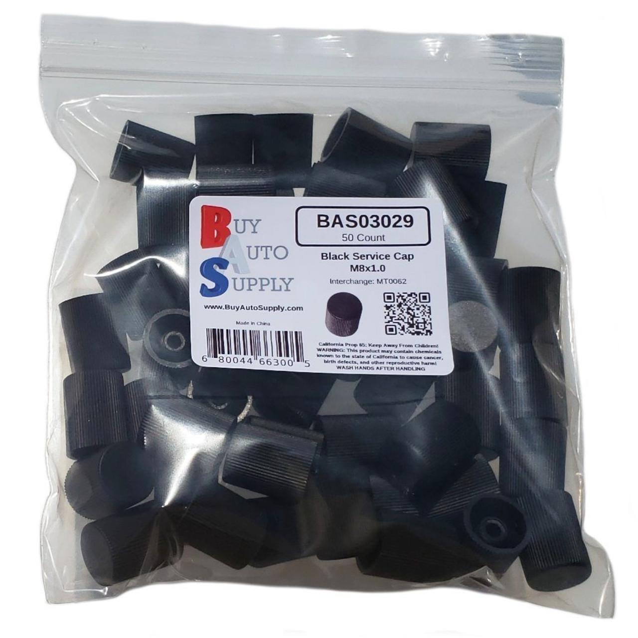 Bag of 50 AC Service Valve Caps - Black Low Side M8x1.0 - Interchanges: MT0062, 59937