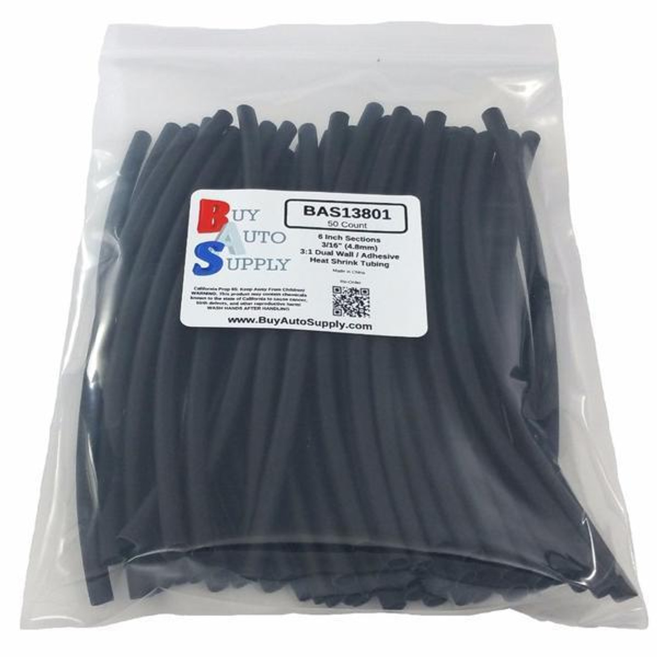"""Bag of 50 Black 3/16"""" 3:1 Dual Wall Heat Shrink Tube Adhesive Lined - 6 Inch Sections"""