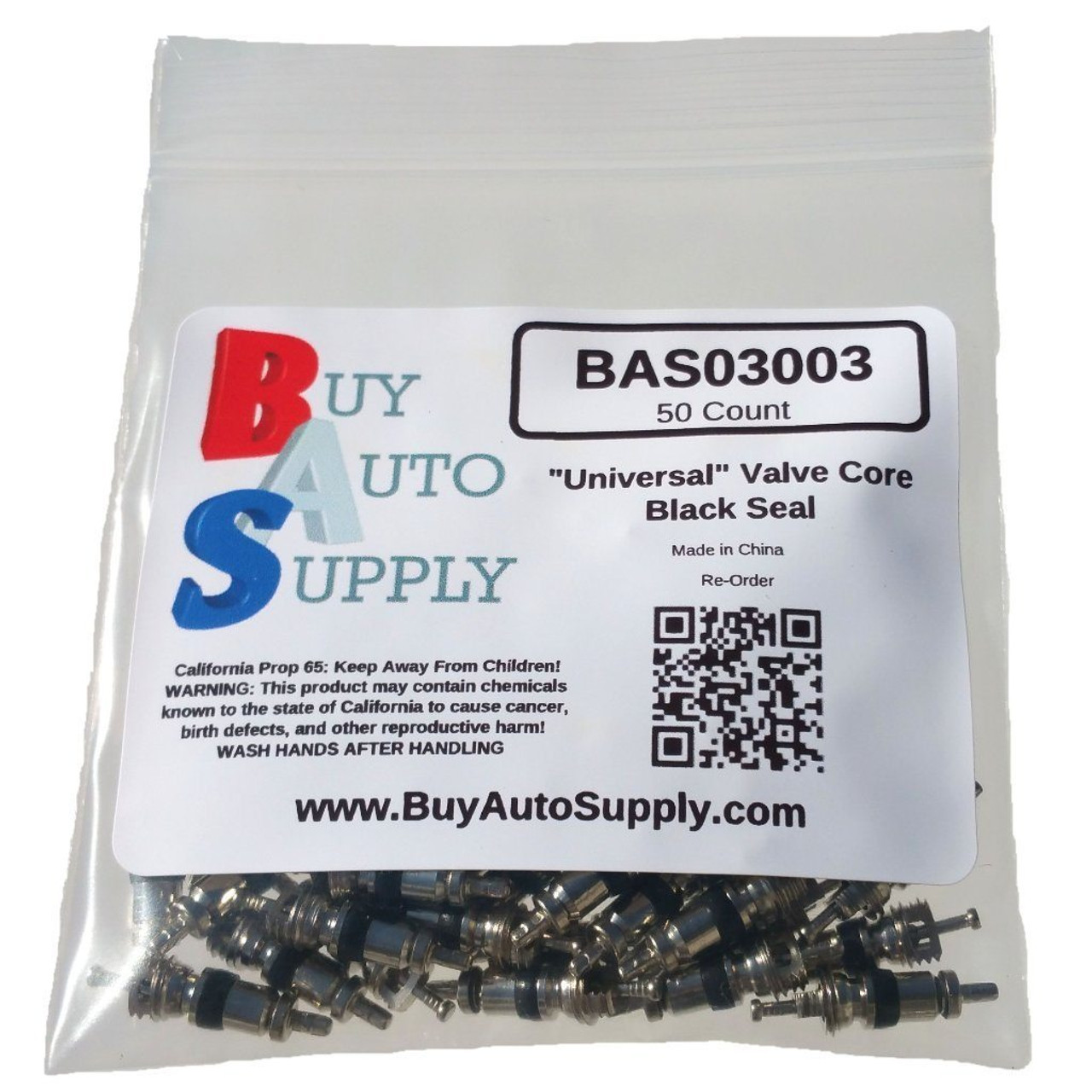 Bag of 50 A/C Schrader Valve Core - Black Seal - R12 and R134A