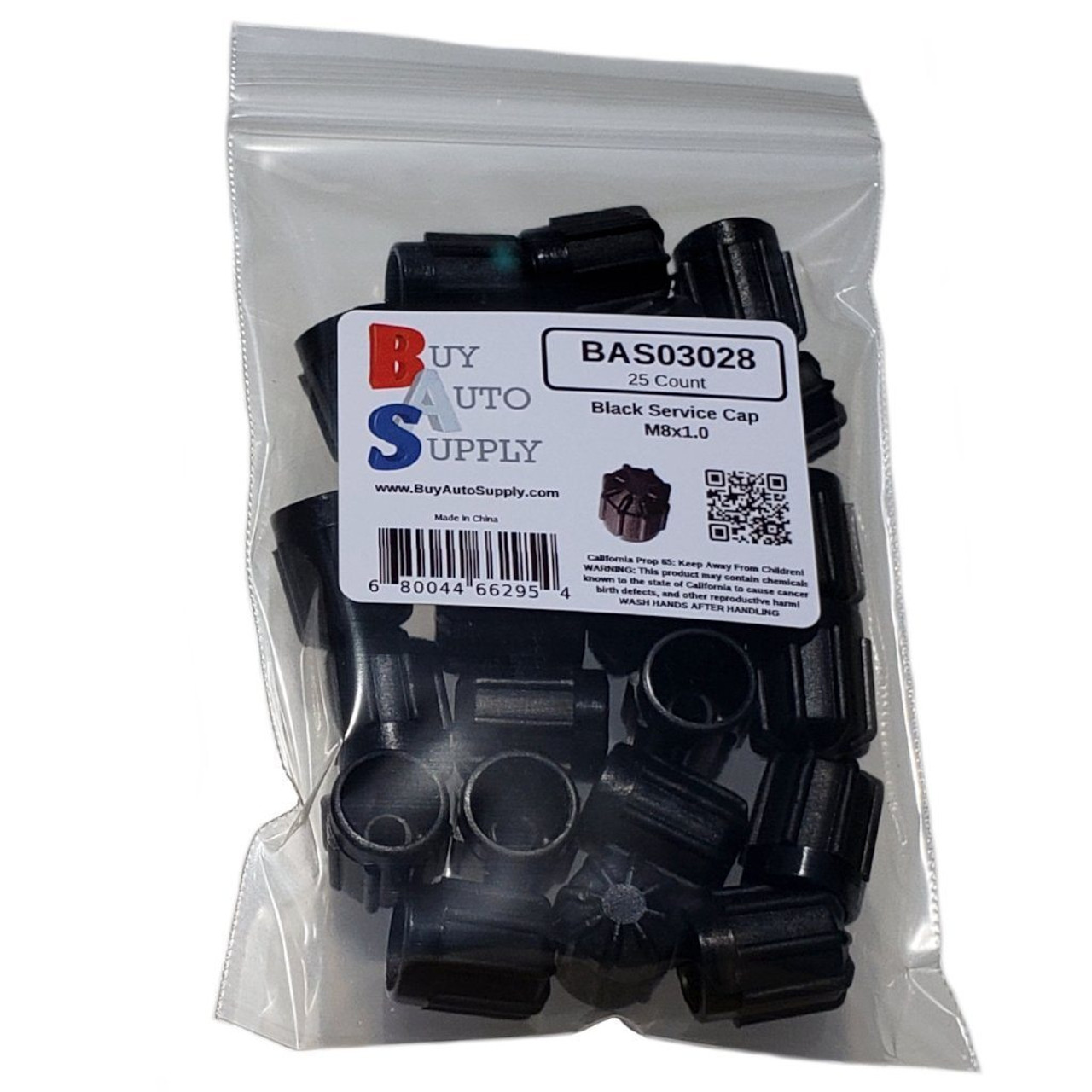 Bag of 25 M8x1.0 AC Service Valve Caps Interchanges: BMW 64538387437, Delco 15-5457, GM 25613359