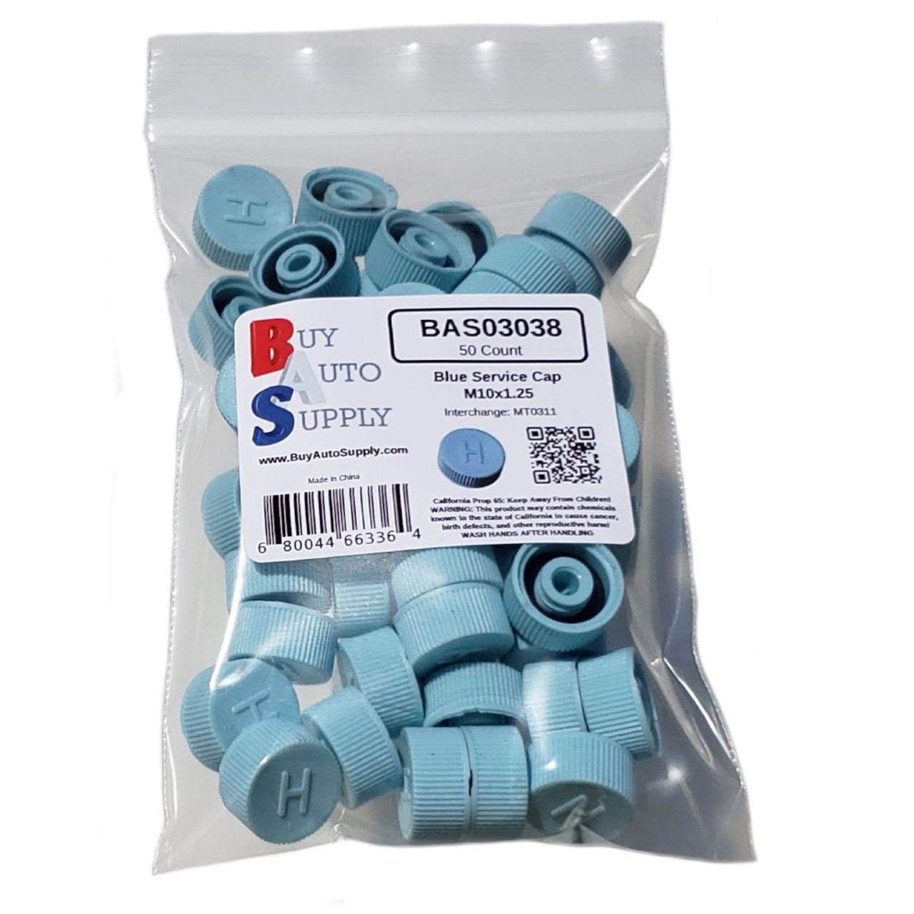 Bag of 50 AC Service Port Caps R134a - Blue High Side M10x1.25 - Interchanges: MT0311, 69501