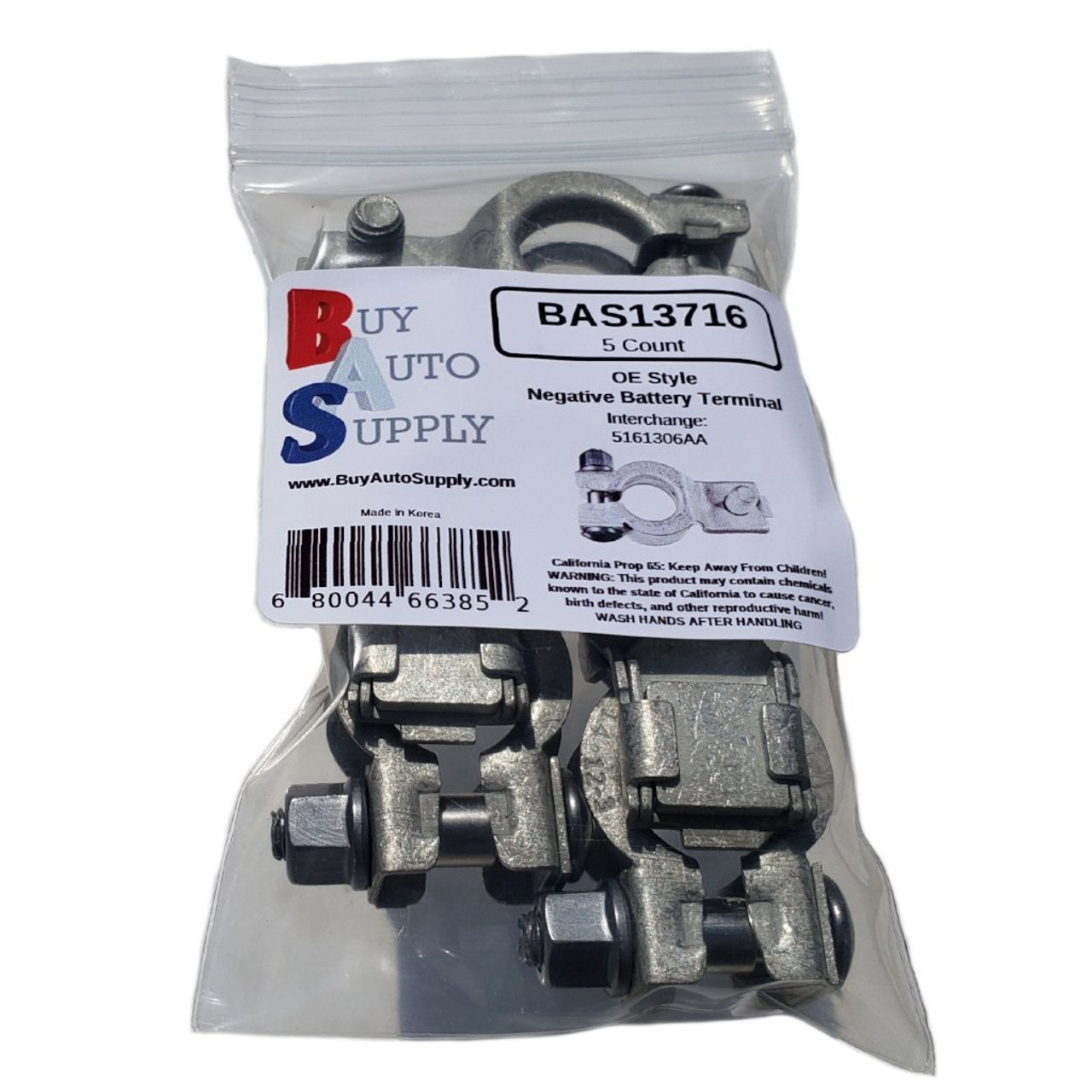 Bag of 5 Negative Top Mount Battery Terminal - Chrysler, Dodge, Jeep, Ram Style - Interchanges 5161306AA