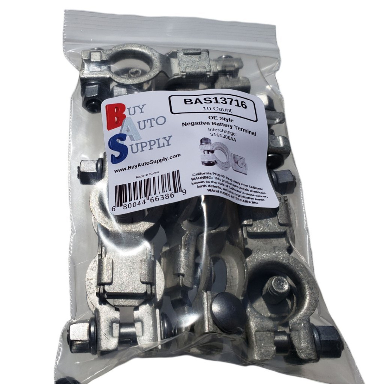 Bag of 10 Negative Top Mount Battery Terminal - Chrysler, Dodge, Jeep, Ram Style - Interchanges 5161306AA