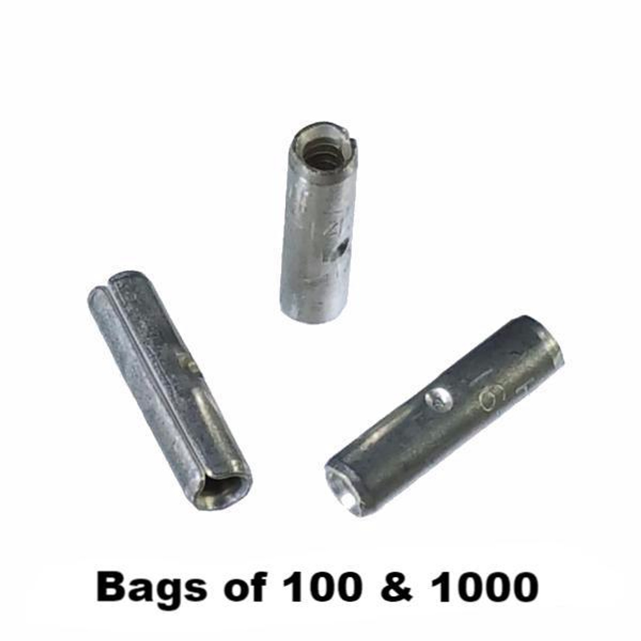 12-10 GAUGE 100 PK UNINSULATED NON INSULATED TINNED BUTT CONNECTOR TERMINAL WIRE