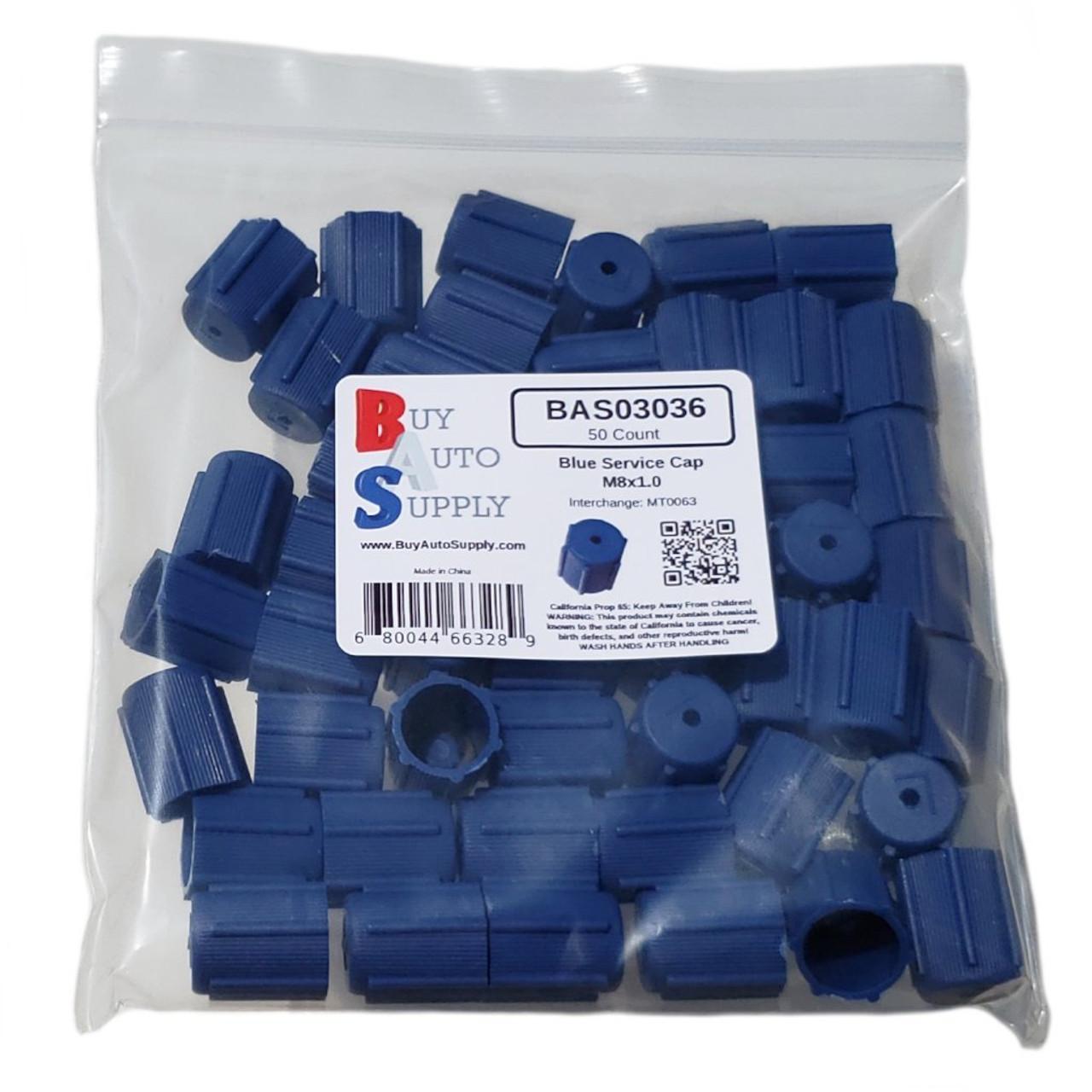 Bag of 50 AC Service Valve Caps R134a - Blue Low Side M8x1.0 - Interchanges: MT0063, 59987
