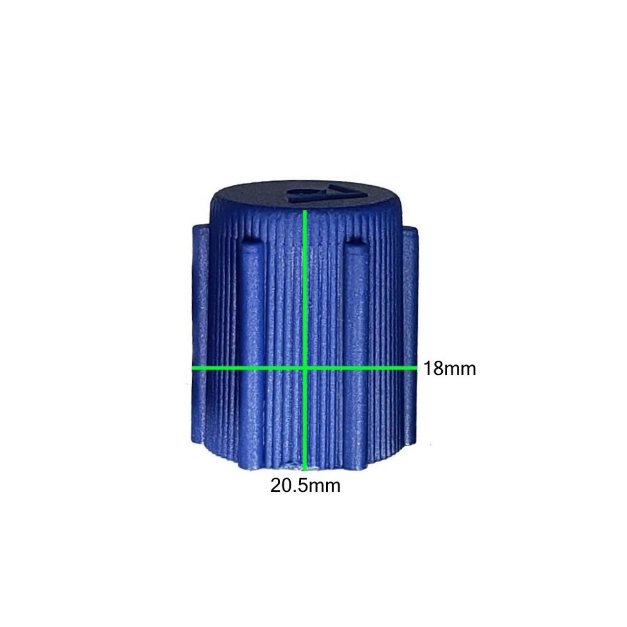 Measurements on AC Service Cap R134a - Blue Low Side M8x1.0