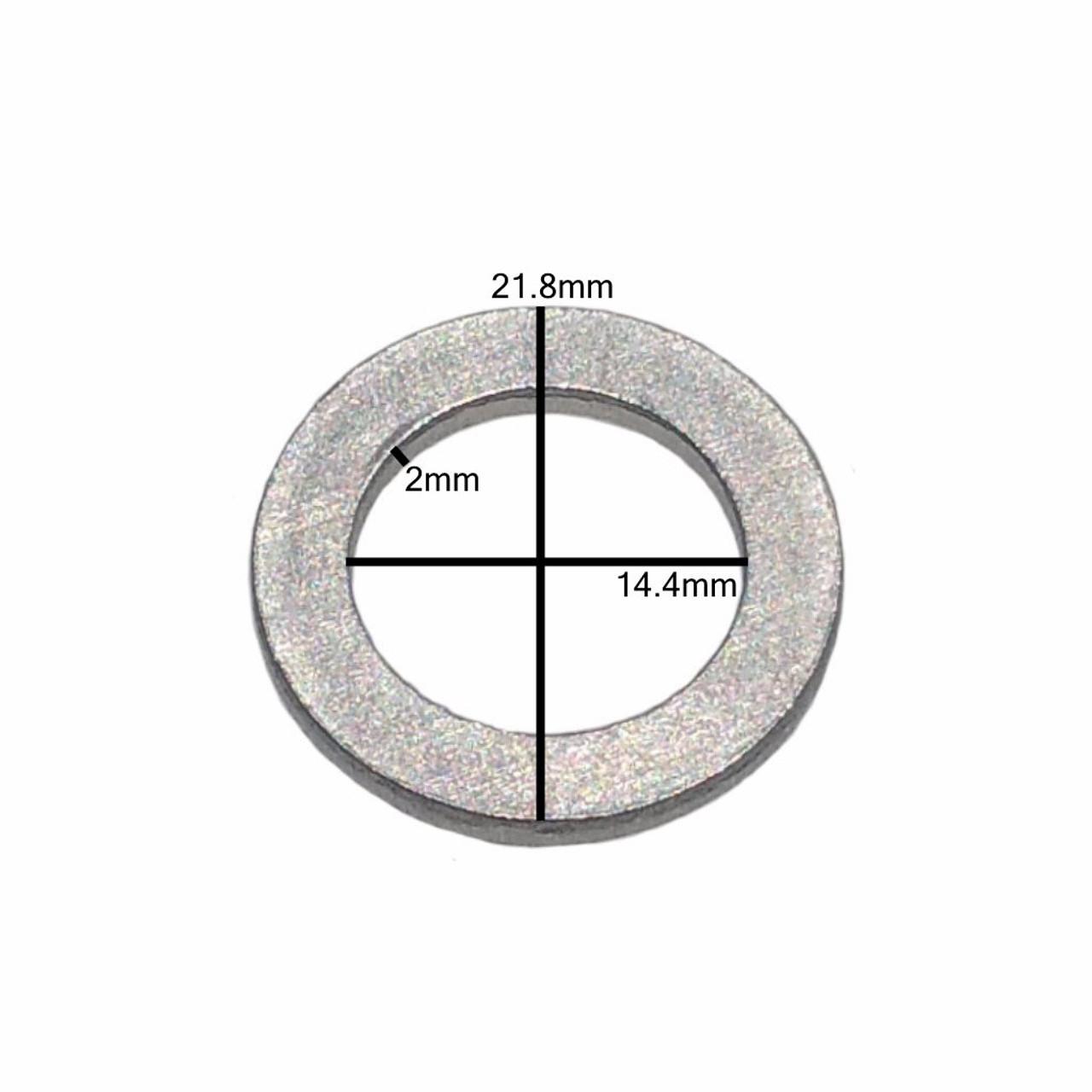 Measurements on M14 Honda Style Aluminum Drain Plug Gasket