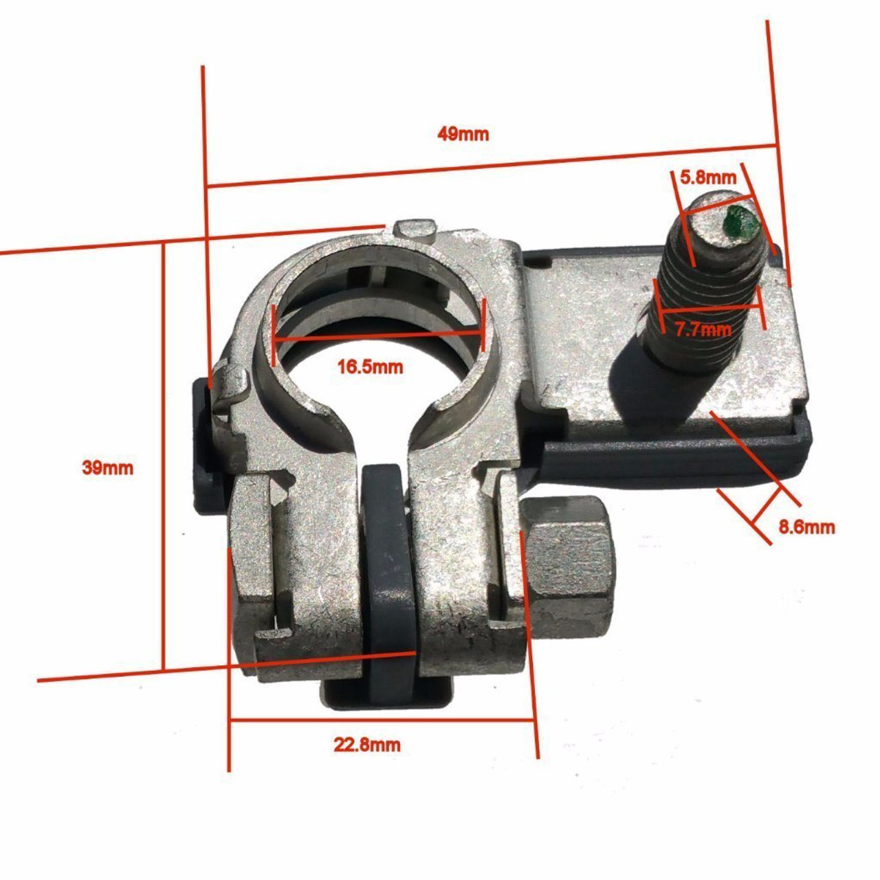 Measurements on Flag style Negative Top Post Battery Terminal Clamp Replacement
