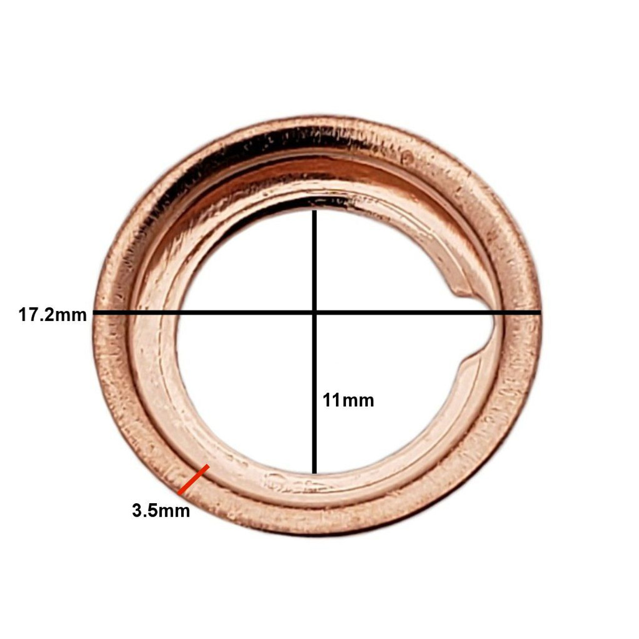 Measurements on M12 Nissan Style Crush Drain Plug Gasket - Interchanges: Dorman 097-134, Nissan 11026-01M00, 11026-01M02, 11026-JA00A , Ford F4XY-6734-A, XF5Z-6734-AA