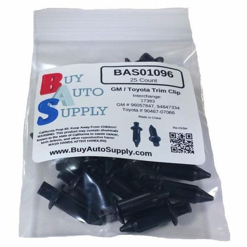 Bag of 25 GM / Toyota Grille Push Retainer Clips