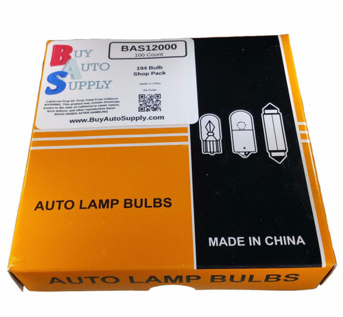BAS12000 Buy Auto Supply 194 Wedge Light Bulb T10 W3W