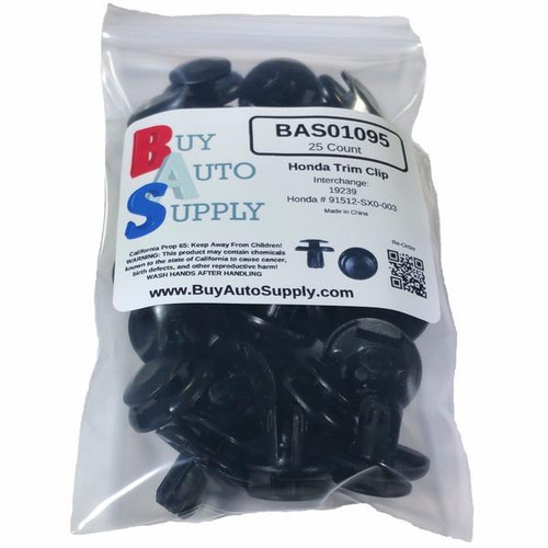 Bag of 25 Honda Push Retainer Clips