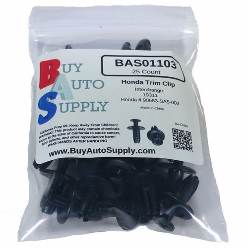 Bag of 25 Honda Fender Liner Retainer Clips