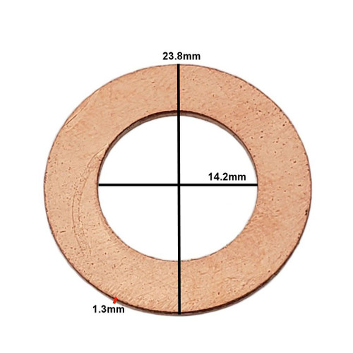 Measurements on M14 Copper Drain Plug Gasket - Interchanges: Dorman 095-010, GM 94000374, Chrysler J4200173, Ford 3C3E-6734-AA, F6DZ-6734-AA, Mercedes 007603014106