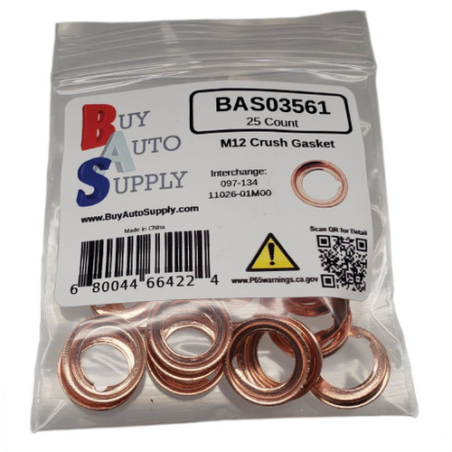 Bag of 25 M12 Nissan Style Crush Drain Plug Gasket - Interchanges: Dorman 097-134, Nissan 11026-01M00, 11026-01M02, 11026-JA00A , Ford F4XY-6734-A, XF5Z-6734-AA