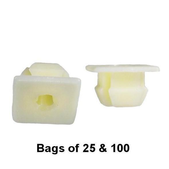 GM Screw Grommet - Nylon Nut - Use #8 or #10 Screw - Square Hole - Interchange: Auveco 13933 GM 150156025