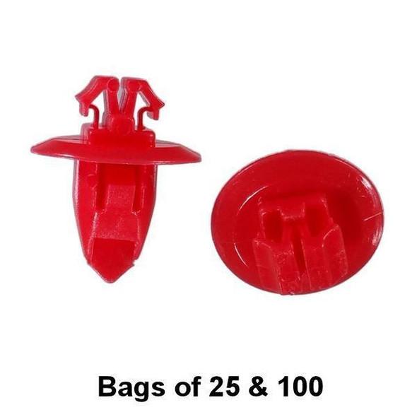 Red Toyota Flare and Trim Retainer Clip - Interchange: Auveco 20391 Dorman 963-512 700-668 Toyota 9090467037