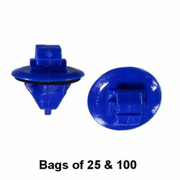 Blue Toyota Flare and Trim Retainer Clip - Interchange: Auveco 20687, Toyota 7549535010