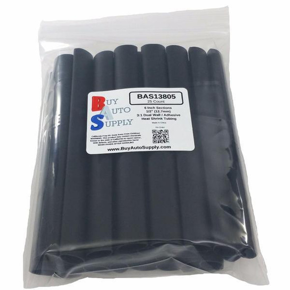 """Bag of 25 Black 1/2"""" 3:1 Dual Wall Heat Shrink Tube - 6 Inch Lengths - Adhesive Lined"""